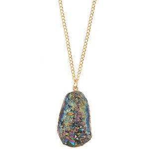 Jewelry - Large Cracked Stone Pendant Necklace